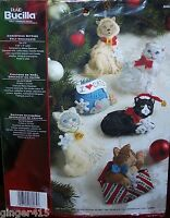 Bucilla Christmas Kitties Felt Cat Ornament Kit Factory Direct Kittens Very Rare