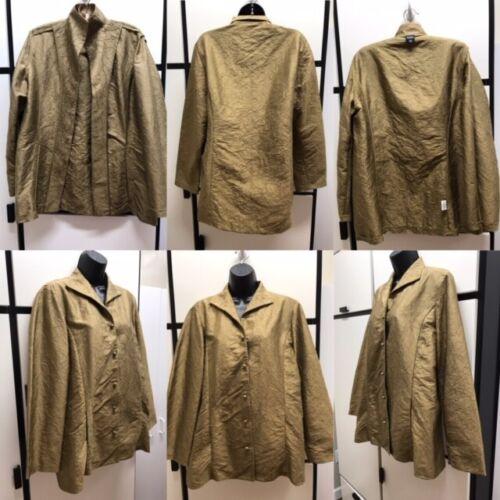 Eileen Fisher M Silk Tussah Vicuna Collar Shirt Cr