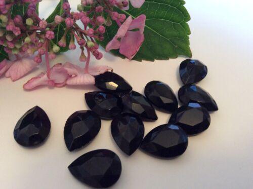 Vintage tchèque noir Pearshape strass unfoiled 18x13mm artisanat poste gratuit