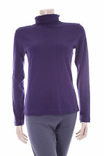 Ladies Purple Buddha Jumper Size S Womens Turtleneck Top Stretch Jersey