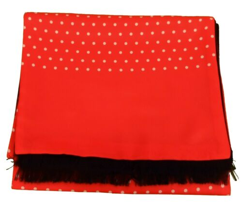 Mazeys Mens Classic Retro Mod Mod Tassled Scarf Lava Red Polka Dot …