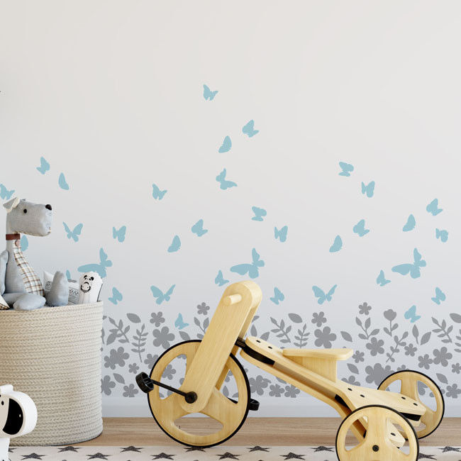 Blossom Butterfly Nursery STENCIL Wall Fabric Furniture Painting Decor Stencil