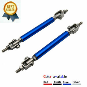 Regolabile-Blu-Splitter-Paraurti-Anteriore-strut-rod-Tie-bar-di-Supporto-100MM