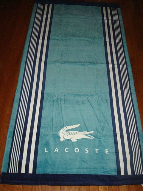 LACOSTE BLUES & WHITE BEACH TOWEL 36X72 INCHES