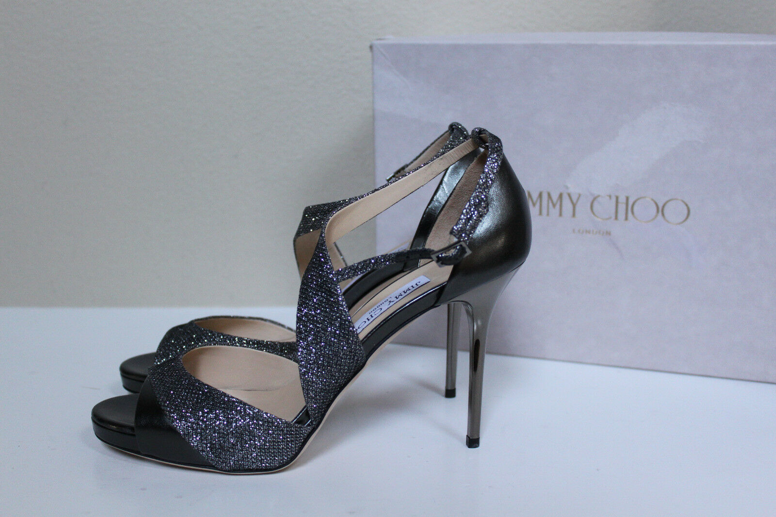 New sz 9.5   39.5 Jimmy Choo Choo Choo Tyne argent Glitter Metallic Strappy Sandal chaussures c9f63f