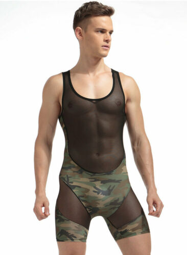 Homme Camouflage Tank Top One Piece Wrestling Singlet Body Justaucorps sous-vêtements