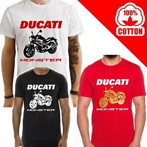 T-Shirt-Ducati-Monster-600-uomo-Maglia-moto-nera-cotone-100-maglietta