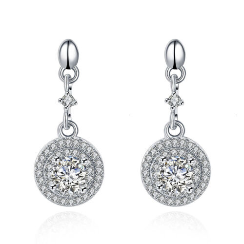 White Sapphire Dangle Boucles d/'oreilles en argent sterling