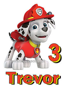 8c495b963 NEW PERSONALIZED PAW PATROL MARSHALL FIREMAN PUP T SHIRT BIRTHDAY ...