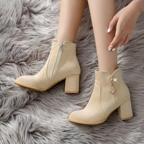 2 Farben Blockabsatz Stretch 34-43 Ankle Boots Damenstiefeletten Rund Pumps D
