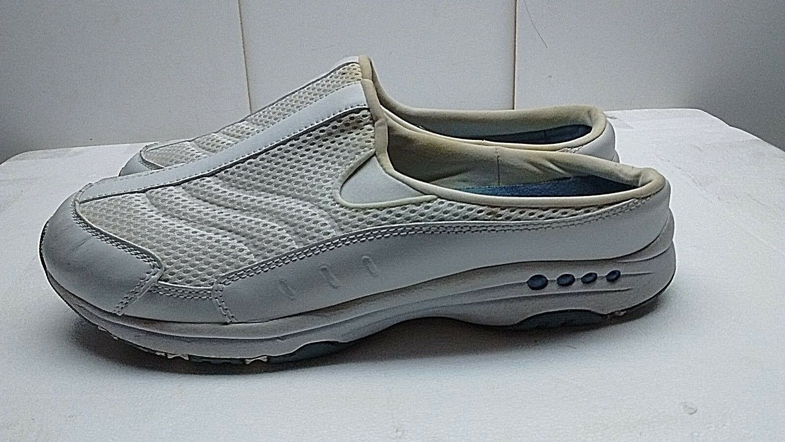 Easy Spirit TRAVELTIME Womens Leather White Fabric Mules Slip On shoes 10 M 42.5