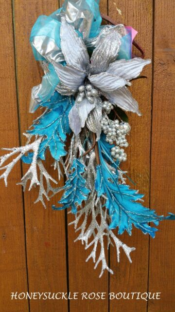 Front Door Wreath Package Decoration  Turquoise and Silver with a Turquoise Bow