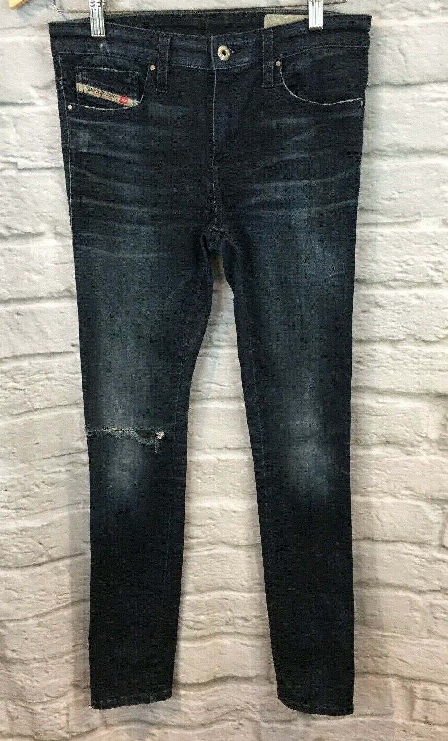 Diesel Women's Skinzee Super Slim Skinny Distressed Destroyed Jeans Sz 28 30