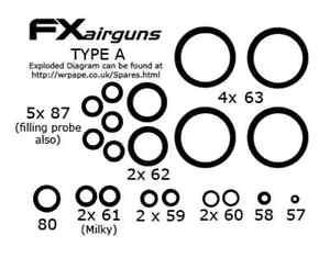 FX air rifle O Ring SEAL KIT-Choisir modèle de fusil la liste déroulante