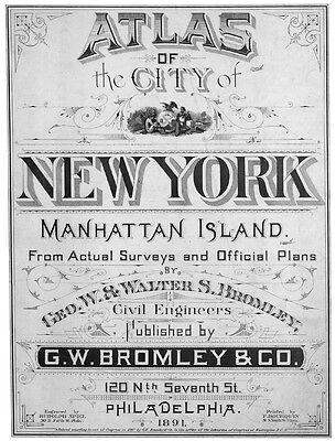 1891 Atlas of New York City NYC Manhattan Island NY on CD