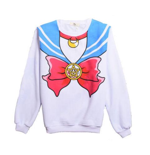 Harajuku Sweatshirts Sailor Moon Long Girls Costume Cosplay Pullovers O-Neck Top