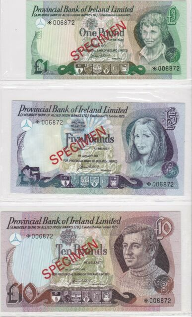 BN4) Northern Ireland – Provincial Bank 1978 set of 3 Unc. SPECIMEN £1 - £10