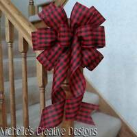 10 W Red & Black Gingham Plaid Bow For Decorationwreathspartiestree Topper