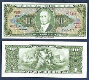 Brasil 10 Cruzeiros 1962 (UNC) : 全新 巴西 10克鲁塞罗纸币 加盖 1962年版