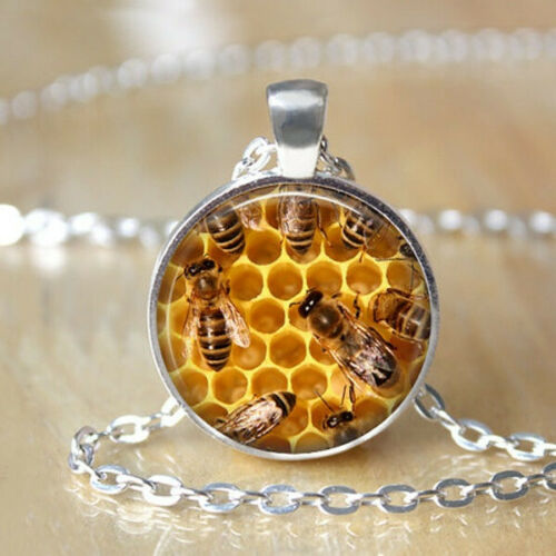 Honey Bee Necklace Save the Bees Jewelry Glass Silver Chain Pendant Necklace
