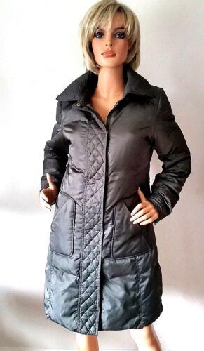 Tahari zip M donna cappotto imbottita da trapuntata medio lungo Nylon trapuntato verde con 6BnRrxq6I7
