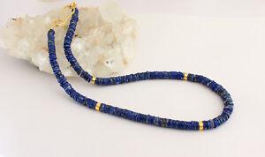 Lapiskette-Edelsteinlkette-lapis-lazuli-kette-Halskette-Scheiben-Blau-collier