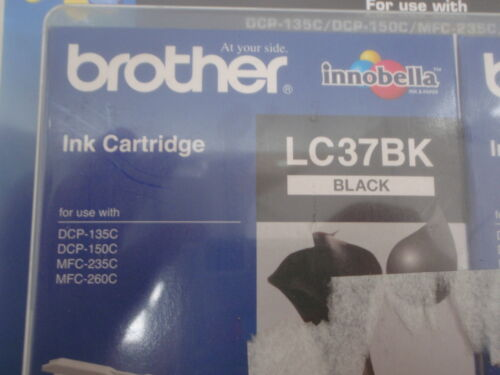 BROTHER LC37BK GENUINE BLACK INK CARTRIDGE DCP-135C DCP-150C MFC-235C MFC-260C