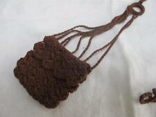 VINTAGE 1920's MINIATURE BROWN WOOL CROCHET COIN PURSE