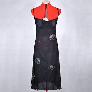 DOLCE-amp-GABBANA-Black-Silk-Slip-Dress-with-Lace-Ornament-Elements-Size-L-46-12