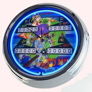 N-0701-Reloj-de-Pared-Pinball-Dipsy-Doodle-Williams-1970-Neonuhr-Cocina-Salon