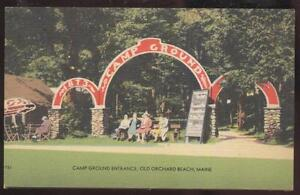 Postcard-OLD-ORCHARD-BEACH-Maine-ME-Camp-Ground-Entrance-Arch-1930-039-s