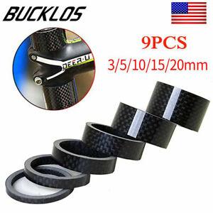 "BUCKLOS MTB Stem Washers Carbon Fiber Headset Spacers 1-1//8/"" Threadless 11PCS"