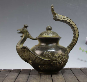 China-Old-bronze-The-shape-of-the-Phoenix-Carved-flower-Teapot