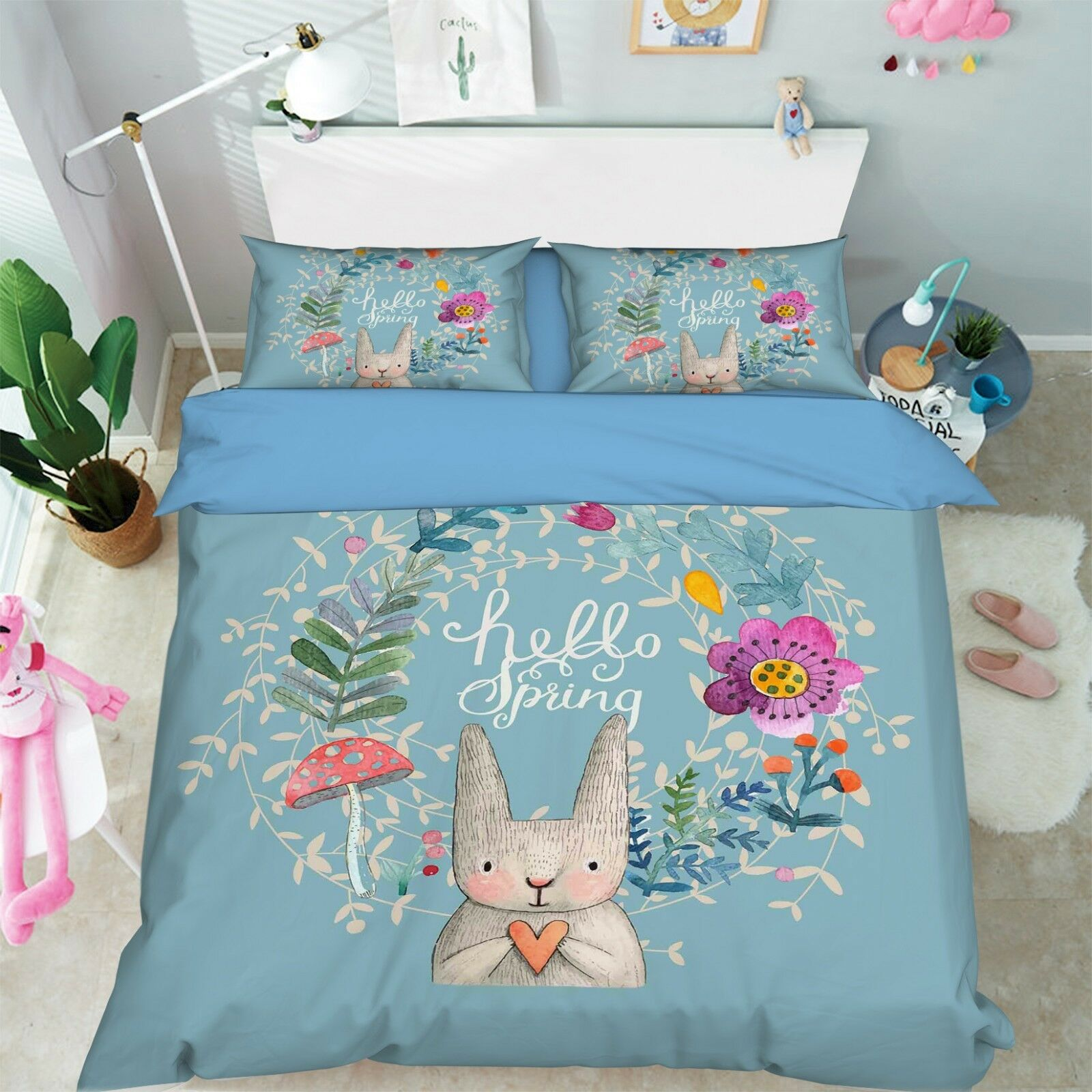 3D Rabbit Flower Cute 42 Bed Pillowcases Quilt Duvet Cover Set Single Queen US