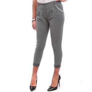 1e2e743203 Dettagli su Pantaloni Donna Gessato A Righe Aderente Slim Cavallo Sceso  Turca Catena p11370