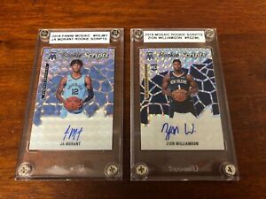 2019-20 MOSAIC BASKETBALL JA MORANT  ZION WILLIAMSON ROOKIE SCRIPTS AUTO LOT (2)