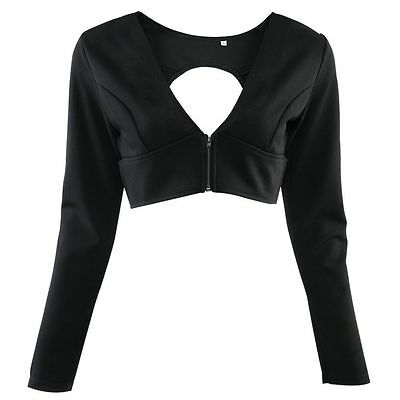Sexy Womens Slimming Vest Zipper Long Sleeve V Neck Cut Out Backless Crop Top