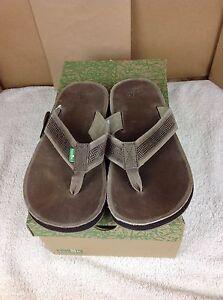 SANUK-Brigadier-Men-039-s-Leather-Sandals-Flip-Flops-Brown-Size-9-US