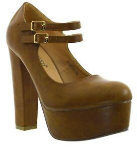 Scarpe-decollete-plateau-tacco-alto-con-scarpa-decolte-elegante-con-fibbie-camel