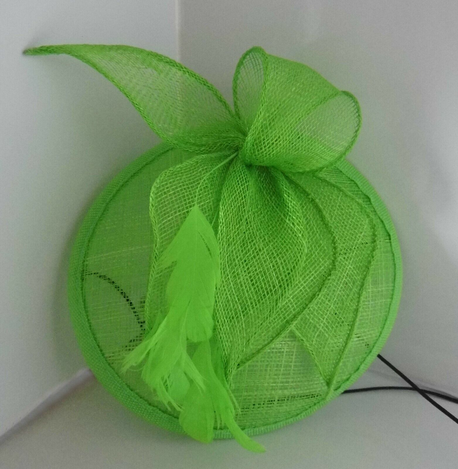Lime Green Hessian Style Fascinator with Feather & Flower Centre