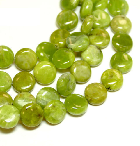 Jaspe monedas verde oliva perlas 10mm piedras preciosas #4263 bacatus
