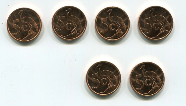 South Africa 1999 Collection of 6 BU UNC 5 cent coins