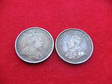 Escaso Canadá 5 centavos 1908 & 1913 King Ed VII rey gv Gratis Reino Unido Asegurado Post