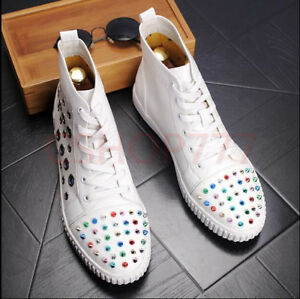 Men-chic-ankle-short-Boots-lace-up-studded-Flat-Rivet-hot-Casual-outdoor-hot-18
