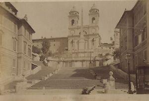 Italia-Roma-Piazza-Di-Spagna-Foto-Vintage-Albumina-Ca-1880