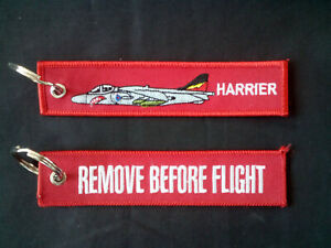 Cloth-Keyring-with-Harrier-on-one-side-Remove-Before-Flight-on-the-other