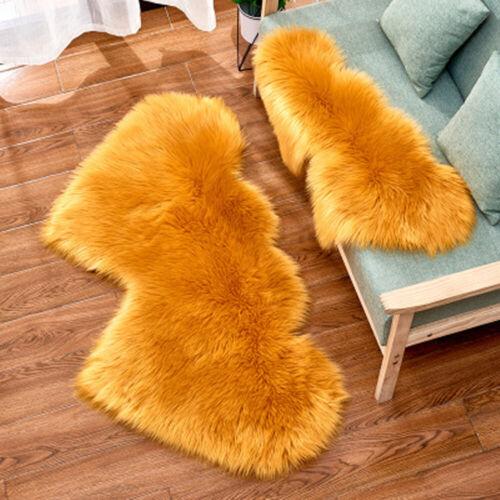 US Fluffy Heart Shaped Rug Shaggy Floor Mat Faux Fur Home Bedroom Hairy Carpet