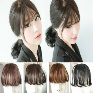 f4a8ce641a3 Womens Hair Air Extension Hairpieces Wig Clip in Front Neat Bangs ...