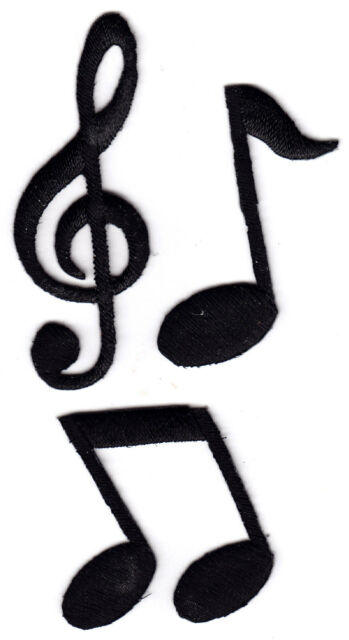 SET OF 3 BLACK MUSIC NOTES - ROCK N'ROLL - JAZZ - Iron On Embroidered Patch