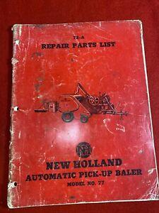 1952-Original-New-Holland-77-Automatic-Pick-Up-Baler-Repair-Parts-List-Manual